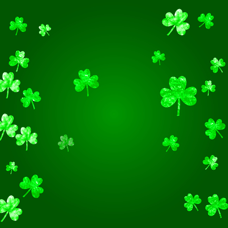 Saint patricks day background with shamrock. Lucky trefoil confetti. Glitter frame of clover leaves. Template for voucher, special business ad, banner. Greeting saint patricks day backdrop.