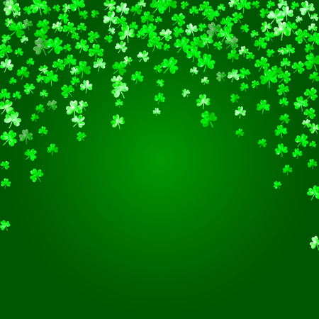 St patricks day background with shamrock. Lucky trefoil confetti. Glitter frame of clover leaves. Template for gift coupons, vouchers, ads, events. Festive st patricks day backdrop.