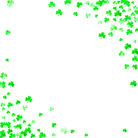 Saint patricks day background with shamrock. Lucky trefoil confetti. Glitter frame of clover leaves. Template for gift coupons, vouchers, ads, events. Holiday saint patricks day backdrop.