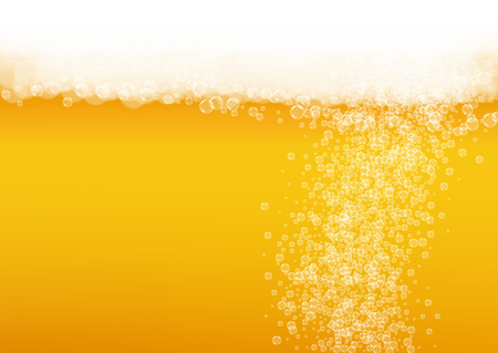 Oktoberfest background. Beer foam. Craft lager splash. pub banner layout. German pint of ale with realistic white bubbles. Cool liquid drink for Golden glass with oktoberfest. Vettoriali