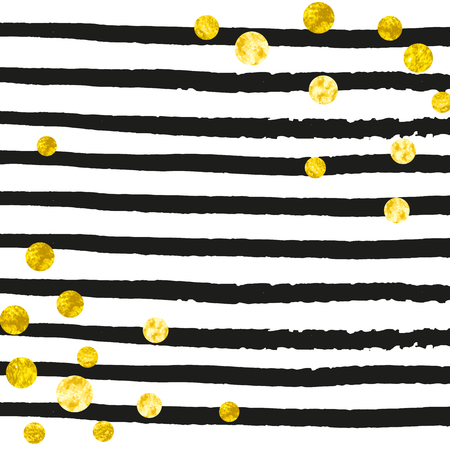 Gold glitter dots confetti on black stripes. Random falling sequins with glossy sparkles. Design with gold glitter dots for party invitation, bridal shower and save the date invite.