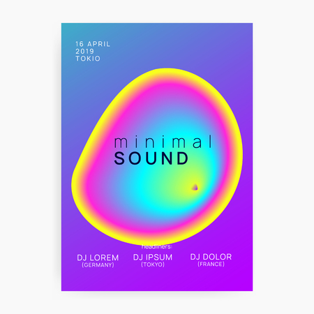 Music poster. Cool disco club presentation template. Electronic sound. Night dance lifestyle holiday. Fluid holographic gradient shape and line. Summer fest flyer and music poster.