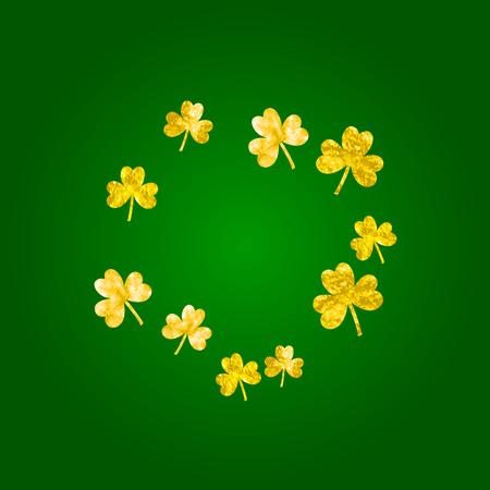 Shamrock background for Saint Patricks Day. Lucky trefoil confetti. Glitter frame of clover leaves.  Template for special business offer, banner, flyer. Dublin shamrock background.