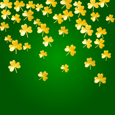 Clover background for Saint Patricks Day. Lucky trefoil confetti. Glitter frame of shamrock leaves. Template for party invite, retail offer and ad. Celtic clover background.
