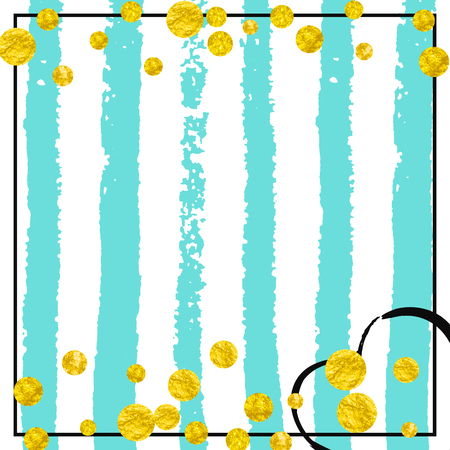 Wedding glitter confetti with dots on turquoise stripes. Sequins with metallic shimmer and sparkles. Design with gold wedding glitter for party invitation, banner, greeting card, bridal shower. 일러스트