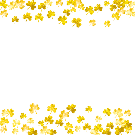 Shamrock background for Saint Patricks Day. Lucky trefoil confetti. Glitter frame of clover leaves.  Template for gift coupons, vouchers, ads, events. Happy shamrock background. Illustration