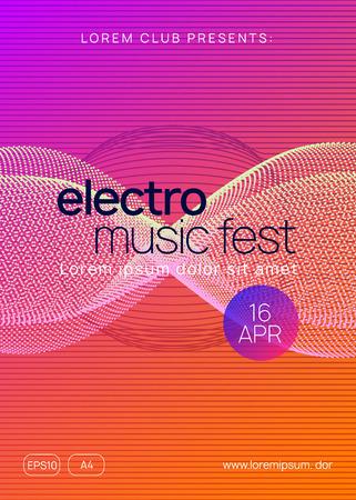 Music poster. Bright discotheque cover design. Dynamic gradient shape and line. Neon music poster. Electro dance dj. Electronic sound fest. Club event flyer. Techno trance party. Stockfoto - 124748002
