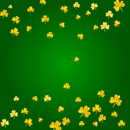 St patricks day background with shamrock. Lucky trefoil confetti. Glitter frame of clover leaves. Template for voucher, special business ad, banner. Merry st patricks day backdrop. Illustration