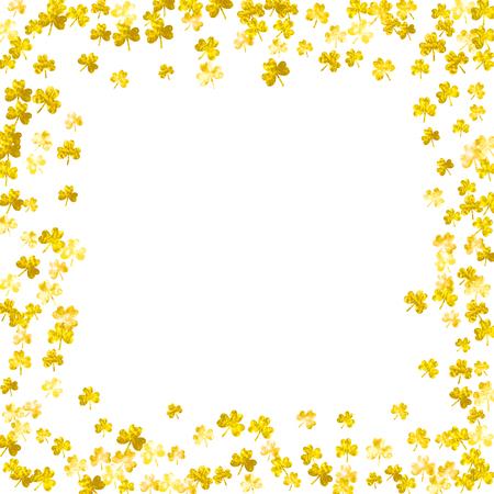 Shamrock background for Saint Patricks Day. Lucky trefoil confetti. Glitter frame of clover leaves.  Template for voucher, special business ad, banner. Merry shamrock background. Illustration