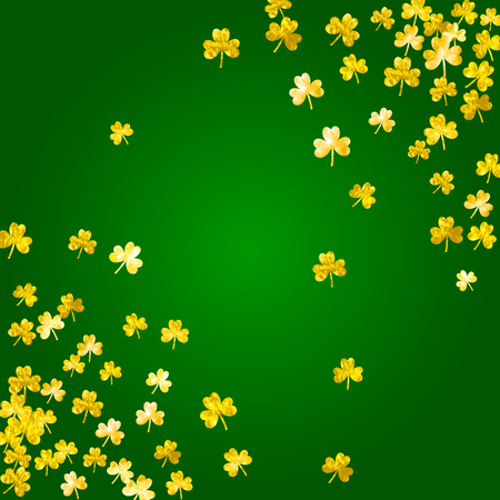Saint patricks day background with shamrock. Lucky trefoil confetti. Glitter frame of clover leaves. Template for gift coupons, vouchers, ads, events. Decorative saint patricks day backdrop. Illustration