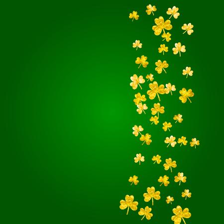 Shamrock background for Saint Patricks Day. Lucky trefoil confetti. Glitter frame of clover leaves.  Template for special business offer, banner, flyer. Merry shamrock background.