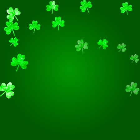 Saint patricks day background with shamrock. Lucky trefoil confetti. Glitter frame of clover leaves. Template for party invite, retail offer and ad. Festive saint patricks day backdrop. Illustration