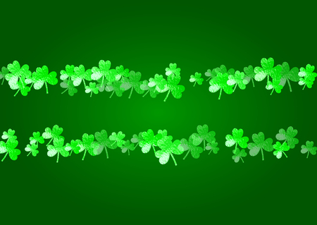 Saint patricks day background with shamrock. Lucky trefoil confetti. Glitter frame of clover leaves. Template for party invite, retail offer and ad. Merry saint patricks day backdrop.