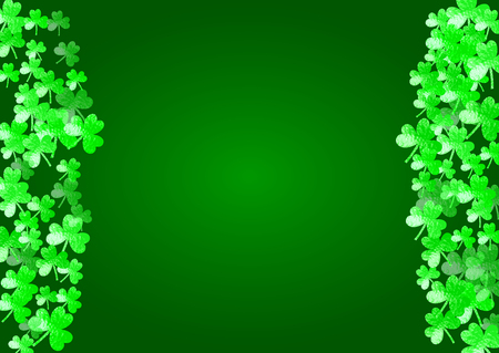 Shamrock background for Saint Patricks Day.  Lucky trefoil confetti. Glitter frame of clover leaves. Template for party invite, retail offer and ad. Irish shamrock background. Illustration