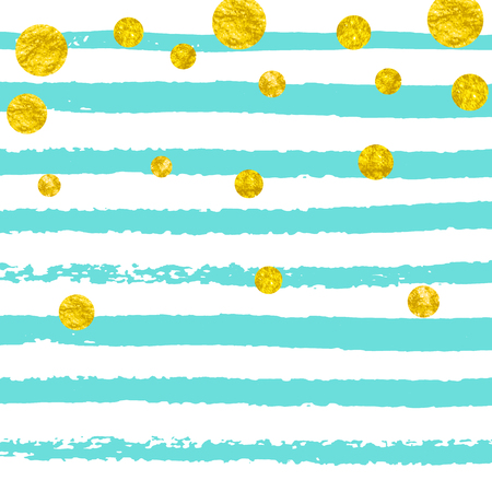 Wedding glitter confetti with dots on turquoise stripes. Random falling sequins with glossy sparkles. Design with gold wedding glitter for party invitation, event banner, flyer, birthday card.