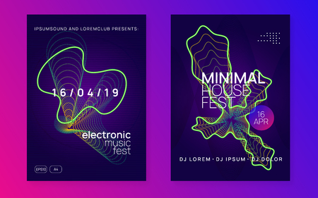 Electronic party. Dynamic gradient shape and line. Curvy concert magazine set. Neon electronic party flyer. Electro dance music. Techno fest event. Trance sound. Club dj poster. Stockfoto - 124700604