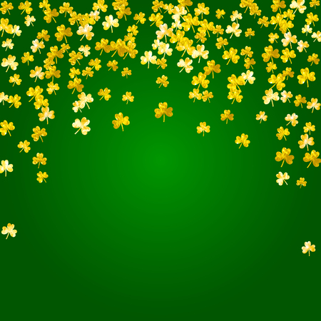 Saint patricks day background with shamrock. Lucky trefoil confetti. Glitter frame of clover leaves. Template for flyer, special business offer, promo. Irish saint patricks day backdrop.