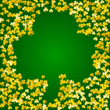 Clover background for Saint Patricks Day. Lucky trefoil confetti. Glitter frame of shamrock leaves. Template for poster, gift certificate, banner. Irish clover background.