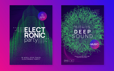 Dj party. Creative show cover set. Dynamic gradient shape and line. Neon dj party flyer. Electro dance music. Techno trance. Electronic sound event. Club fest poster.