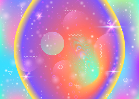 Universe background with galaxy and cosmos shapes and star dust. 3d fluid with magic sparkles. Holographic futuristic gradients. Fantastic space landscape with planets. Memphis universe background.