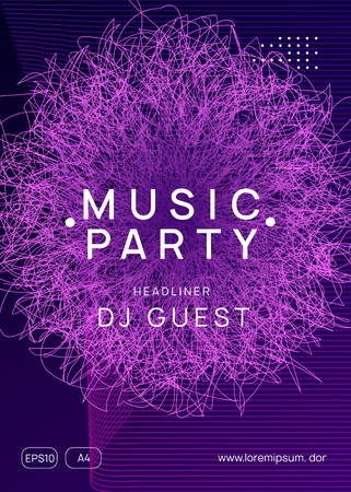 Dj flyer. Dynamic gradient shape and line. Modern discotheque magazine concept. Neon dj flyer. Electro dance music. Electronic sound event. Club fest poster. Techno trance party.