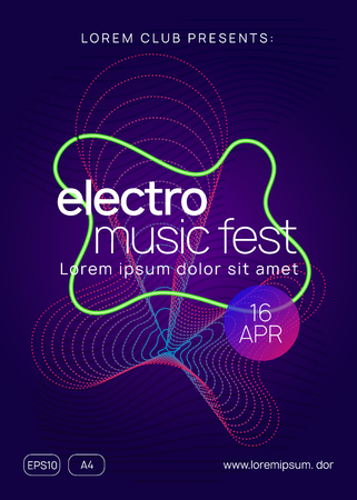Electro event. Dynamic gradient shape and line. Geometric concert invitation template. Electro event neon flyer. Trance dance music. Electronic sound. Club fest poster. Techno dj party. Stockfoto - 124439605