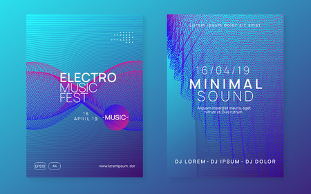 Sound flyer. Creative discotheque banner set. Dynamic gradient shape and line. Neon sound flyer. Electro dance music. Electronic fest event. Club dj poster. Techno trance party. Stockfoto - 124439607