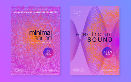 Dance flyer. Dynamic gradient shape and line. Wavy show cover set. Neon dance flyer. Electro trance music. Techno dj party. Electronic sound event. Club fest poster. Stockfoto - 124439615