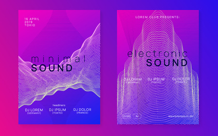 Trance party. Dynamic gradient shape and line. Trendy show brochure set. Neon trance party flyer. Electro dance music. Electronic sound. Club dj poster. Techno fest event. Stockfoto - 124439622