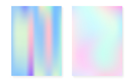 Holographic cover set with hologram gradient background. 90s, 80s retro style. Iridescent graphic template for flyer, poster, banner, mobile app. Neon minimal holographic cover.