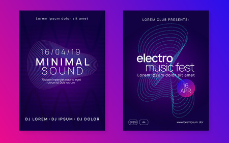 Electro event. Geometric show cover set. Dynamic gradient shape and line. Electro event neon flyer. Trance dance music. Electronic sound. Club fest poster. Techno dj party.