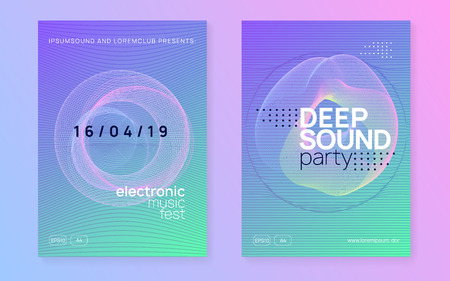 Club flyer. Dynamic gradient shape and line. Cool show cover set. Neon club flyer. Electro dance music. Trance party dj. Electronic sound fest. Techno event poster. Stock Illustratie