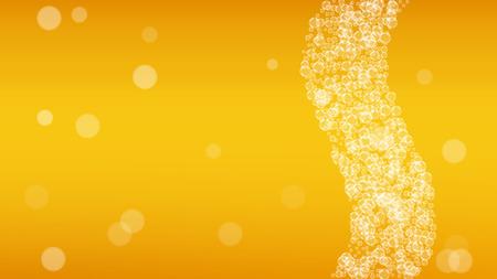 Bier Hintergrund. Craft-Lager-Spritzer. Oktoberfestschaum. pab-Menü-Layout. Tschechisches Bier mit realistischen weißen Blasen. Kühles flüssiges Getränk für Goldcup mit Bierhintergrund.