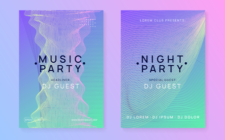 Trance event. Dynamic gradient shape and line. Commercial show brochure set. Neon trance event flyer. Techno dj party. Electro dance music. Electronic sound. Club fest poster.