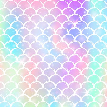 Fondo de sirena kawaii con patrón de escamas de princesa arcoiris. Bandera de cola de pez con destellos mágicos y estrellas. Invitación de fantasía marina para fiesta de chicas. Telón de fondo de sirena kawaii hipster.