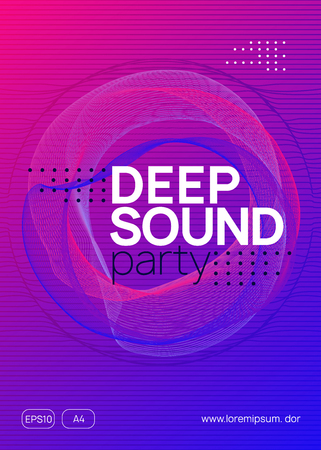 Sound flyer. Bright concert banner concept. Dynamic gradient shape and line. Neon sound flyer. Electro dance music. Electronic fest event. Club dj poster. Techno trance party. Stockfoto - 124772808
