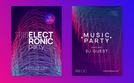 Music fest. Creative concert magazine set. Dynamic gradient shape and line. Music fest neon flyer. Electro dance. Electronic trance sound. Techno dj party. Club event poster.