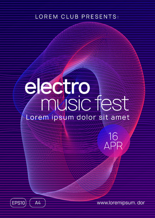 Club flyer. Trendy concert banner design. Dynamic gradient shape and line. Neon club flyer. Electro dance music. Trance party dj. Electronic sound fest. Techno event poster.