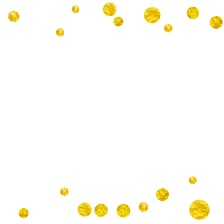 Wedding glitter confetti with dots on isolated backdrop. Random falling sequins with glossy sparkles. Design with gold wedding glitter for party invitation, event banner, flyer, birthday card.