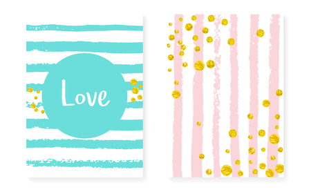 Wedding invitation set with dots and sequins. Bridal shower cards with gold glitter confetti. Vertical stripes background. Stylish wedding invitation set for party, event, save the date flyer.