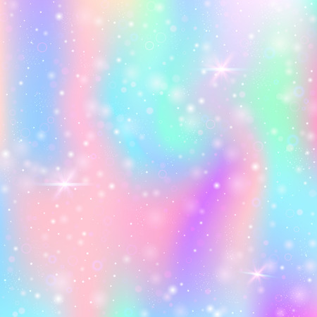 Holographic abstract background. Futuristic holographic backdrop with gradient mesh. 90s, 80s retro style. Iridescent graphic template for banner, flyer, cover design, mobile interface, web app.
