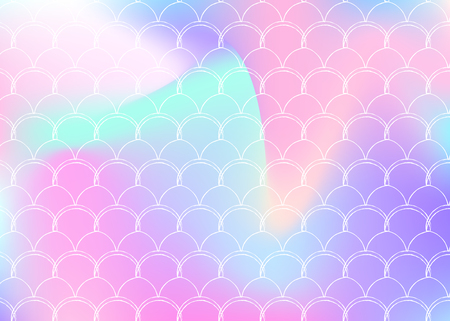 Gradient scale background with holographic mermaid. Bright color transitions. Fish tail banner and invitation. Underwater and sea pattern for girlie party. Plastic backdrop with gradient scale.