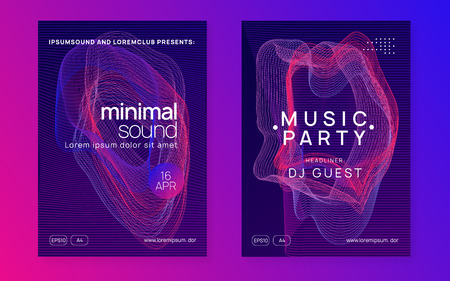 Techno event. Digital show invitation set. Dynamic gradient shape and line. Neon techno event flyer. Electro dance music. Electronic sound. Trance fest poster. Club dj party. Stock Illustratie