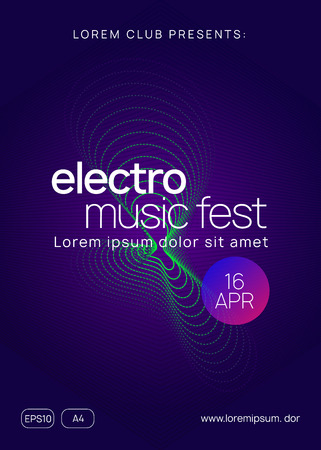 Trance event. Futuristic show invitation design. Dynamic gradient shape and line. Neon trance event flyer. Techno dj party. Electro dance music. Electronic sound. Club fest poster.