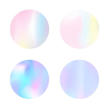 Gradient round set with holographic mesh. Plastic abstract gradient round set backdrops. 90s, 80s retro style. Iridescent graphic template for brochure, flyer, poster, wallpaper, mobile screen.