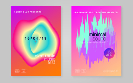 Summer music set. Bright electro show brochure template. Electronic sound. Night dance lifestyle holiday. Fluid holographic gradient shape and line. Fest poster and flyer for summer music. 矢量图像