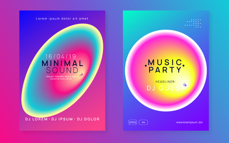 Music poster set. Creative disco club banner template. Fluid holographic gradient shape and line. Electronic sound. Night dance lifestyle holiday. Summer fest flyer and music poster. Ilustrace
