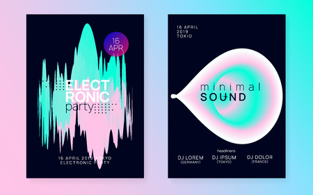 Summer music set. Commercial electro club cover design. Fluid holographic gradient shape and line. Electronic sound. Night dance lifestyle holiday. Fest poster and flyer for summer music.