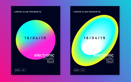 Music poster set. Fluid holographic gradient shape and line. Abstract trance event banner layout. Electronic sound. Night dance lifestyle holiday. Summer fest flyer and music poster.
