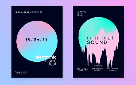 Music poster set. Electronic sound. Night dance lifestyle holiday. Trendy disco concert magazine design. Fluid holographic gradient shape and line. Summer fest flyer and music poster.